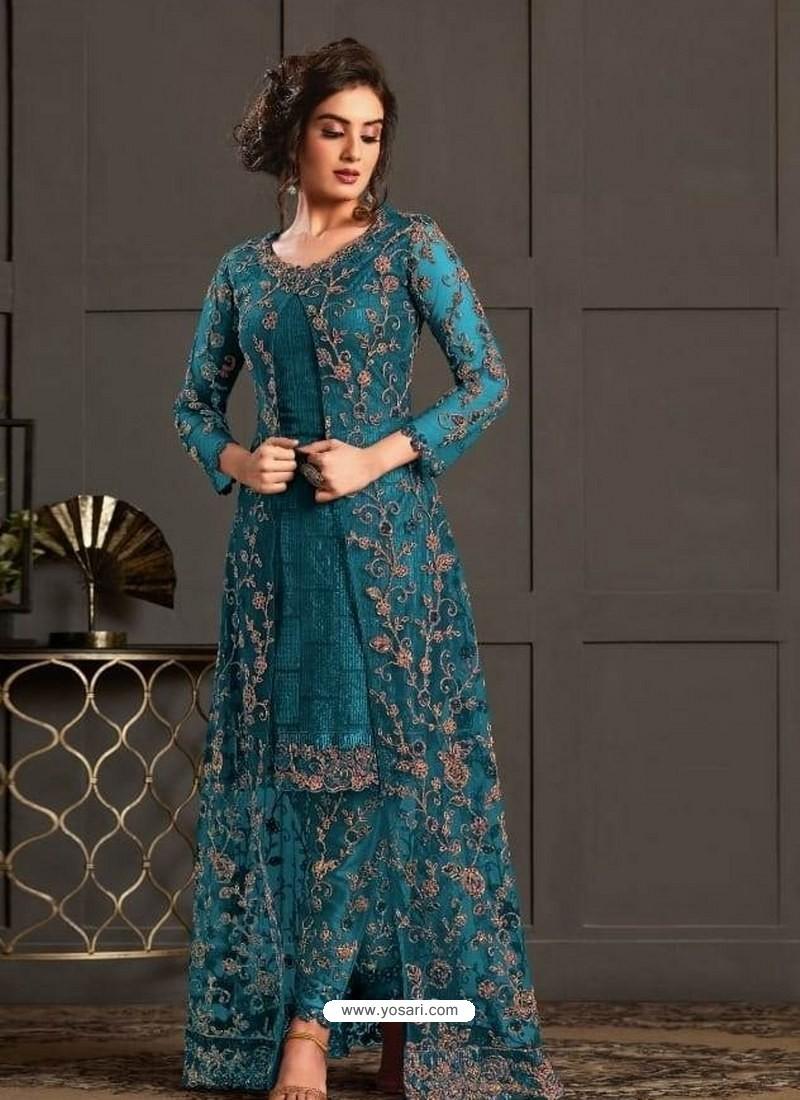 Blue Designer Party Wear Super Net Pakistani Suit