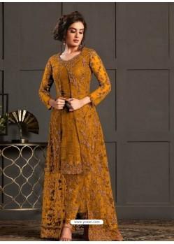 Mustard Designer Party Wear Super Net Pakistani Suit