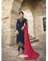 Navy Blue Designer Satin Georgette Party Wear Straight Salwar Suit