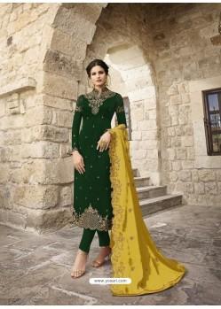 Dark Green Designer Satin Georgette Party Wear Straight Salwar Suit