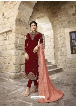 Maroon Designer Satin Georgette Party Wear Straight Salwar Suit