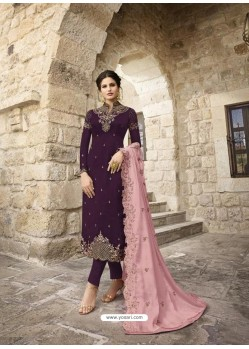 Purple Designer Satin Georgette Party Wear Straight Salwar Suit