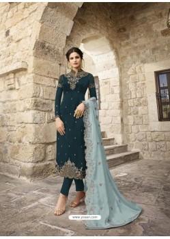Teal Blue Designer Satin Georgette Party Wear Straight Salwar Suit