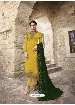 Yellow Designer Satin Georgette Party Wear Straight Salwar Suit