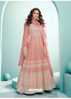Peach Latest Real Georgette Designer Wedding Anarkali Suit