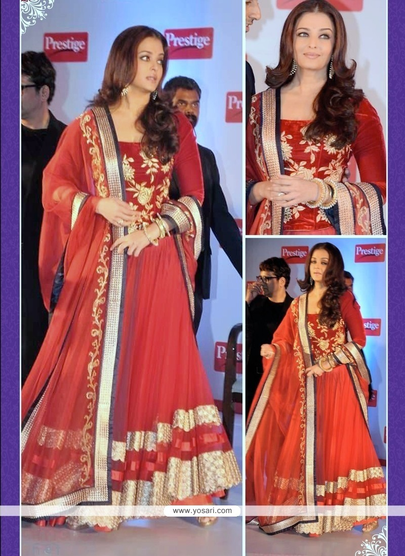 Aishwarya Rai Bachchan Red A Line Lehenga Choli