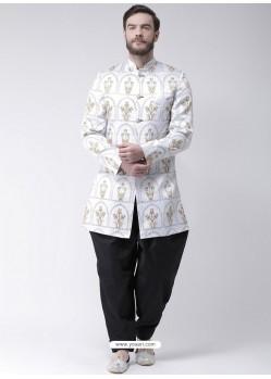 White Readymade Designer Indo Western Sherwani