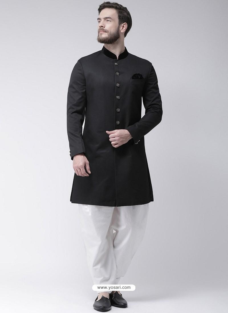 Black Readymade Designer Indo Western Sherwani
