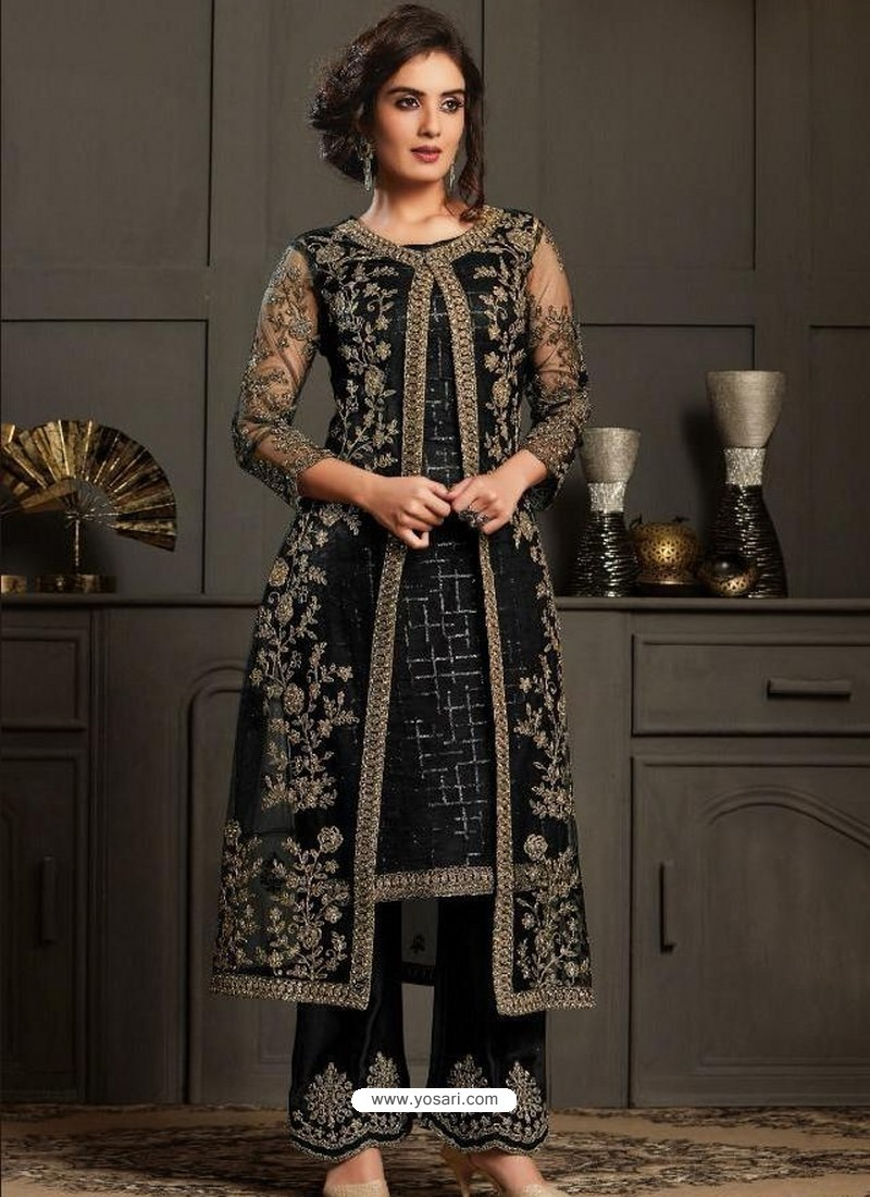 Black Designer Party Wear Butterfly Net Pakistani Suit