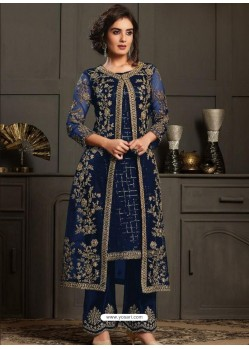 Navy Blue Designer Party Wear Butterfly Net Pakistani Suit