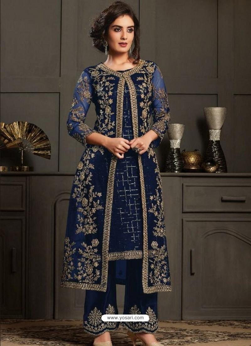 Navy Blue Designer Party Wear Butterfly Net Pakistani Suit