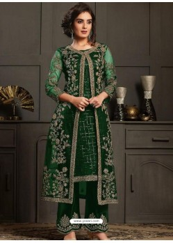 Dark Green Designer Party Wear Butterfly Net Pakistani Suit