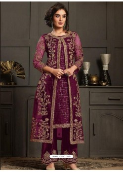 Deep Wine Designer Party Wear Butterfly Net Pakistani Suit