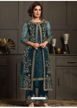 Teal Blue Designer Party Wear Butterfly Net Pakistani Suit