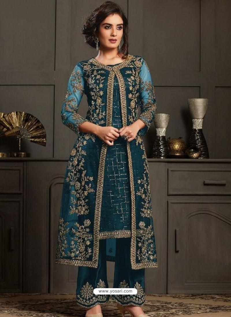 Teal Blue Designer Party Wear Butterfly Net Pakistani Suit