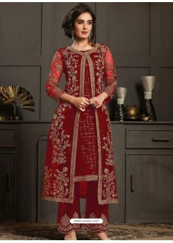 Maroon Designer Party Wear Butterfly Net Pakistani Suit