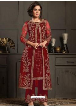 Maroon Designer Party Wear Butterfly Net Pakistani Suit