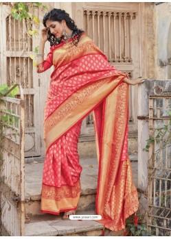 Light Red Designer Traditional Wear Silk Sari