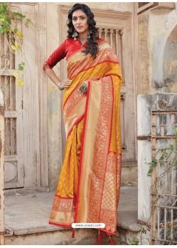 Mustard Designer Traditional Wear Silk Sari