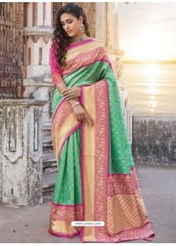 Jade Green Designer Traditional Wear Silk Sari