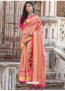 Peach Designer Traditional Wear Silk Sari