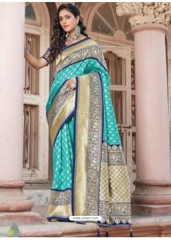 Sky Blue Designer Traditional Wear Silk Sari