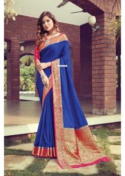 Royal Blue Designer Traditional Wear Pure Silk Sari