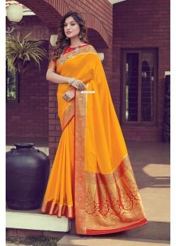 Orange Designer Traditional Wear Pure Silk Sari