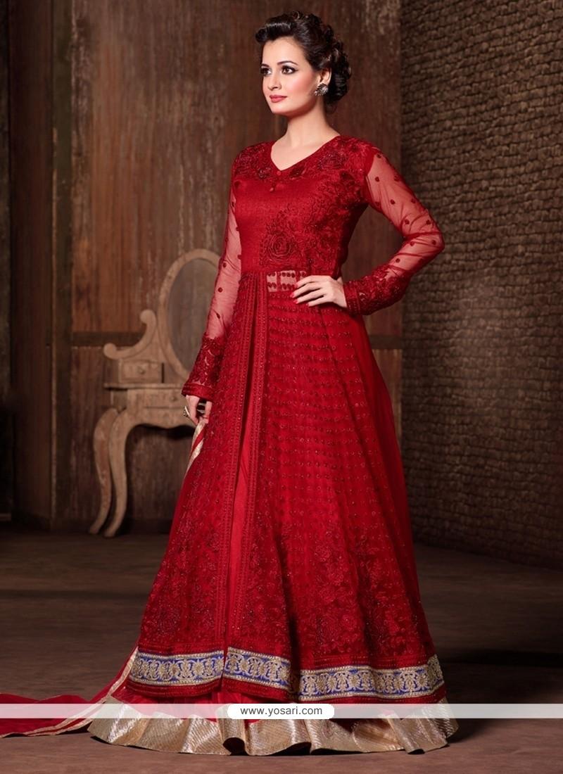 Diya Mirza Embroidered Work Red A Line Lehenga Choli