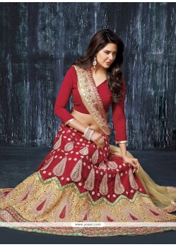 Sensational Zari Work Red A Line Lehenga Choli