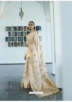 Gold Designer Traditonal Wear Tissue Zari Organza Sari