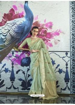 Sea Green Designer Traditonal Wear Tissue Zari Organza Sari