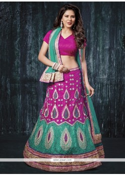 Remarkable Green And Purple A Line Lehenga Choli