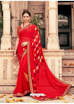 Red Casual Designer Printed Georgette Sari