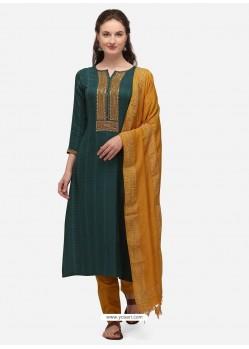 Teal Designer Cotton Blend Salwar Suit