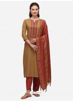 Beige Designer Cotton Blend Salwar Suit