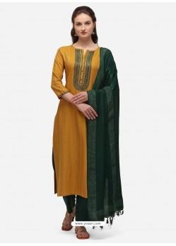 Yellow Designer Cotton Blend Salwar Suit