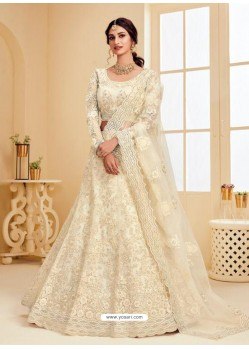 Off White Heavy Embroidered Designer Net Wedding Lehenga Choli