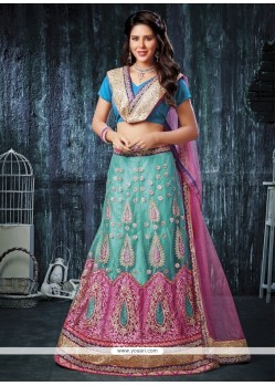 Sensible Net Zari Work A Line Lehenga Choli