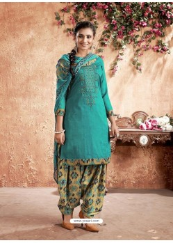 Turquoise Designer Party Wear Pure Cotton Punjabi Patiala Suit