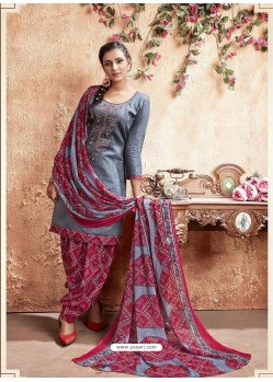 Grey Designer Party Wear Pure Cotton Punjabi Patiala Suit