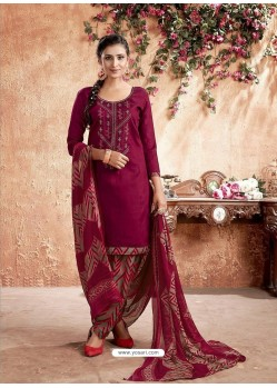 Maroon Designer Party Wear Pure Cotton Punjabi Patiala Suit