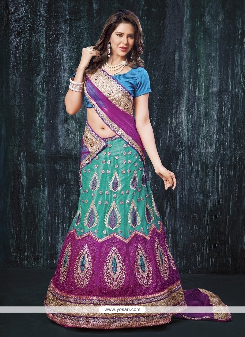 Catchy Turquoise Embroidered Work A Line Lehenga Choli