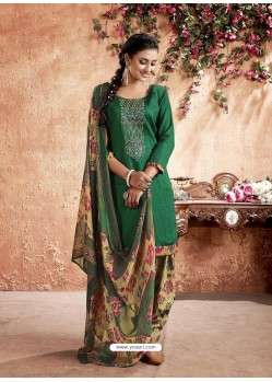 Forest Green Designer Party Wear Pure Cotton Punjabi Patiala Suit