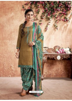 Beige Designer Party Wear Pure Cotton Punjabi Patiala Suit