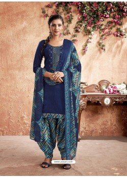 Dark Blue Designer Party Wear Pure Cotton Punjabi Patiala Suit