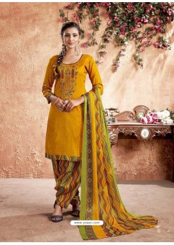 Mustard Designer Party Wear Pure Cotton Punjabi Patiala Suit