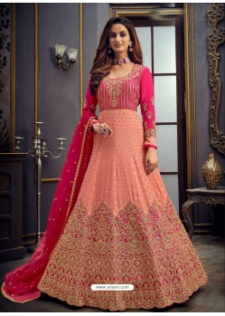 Peach Latest Designer Heavy Embroidered Party Wear Anarkali Suit
