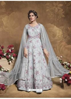 Light Grey Latest Designer Party Wear Butterfly Net Aanarkali Suit