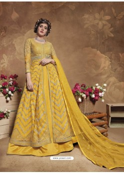 Yellow Latest Designer Party Wear Butterfly Net Aanarkali Suit